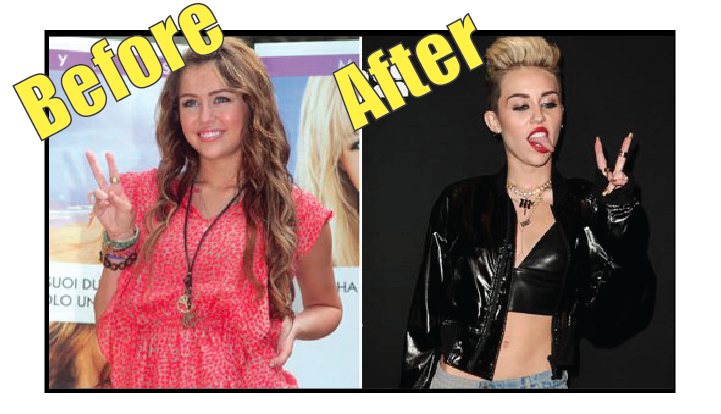 Miley Cyrus before vs after