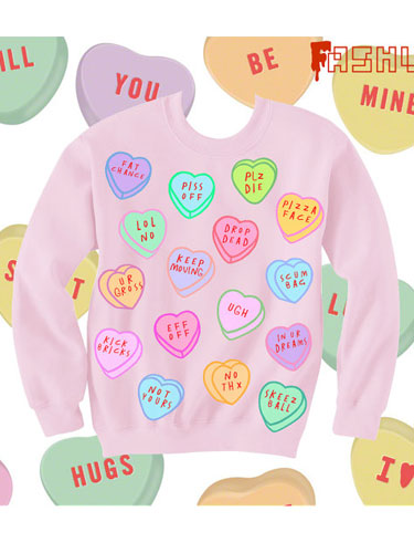 anti-valentine's day candy heart sweatshirt
